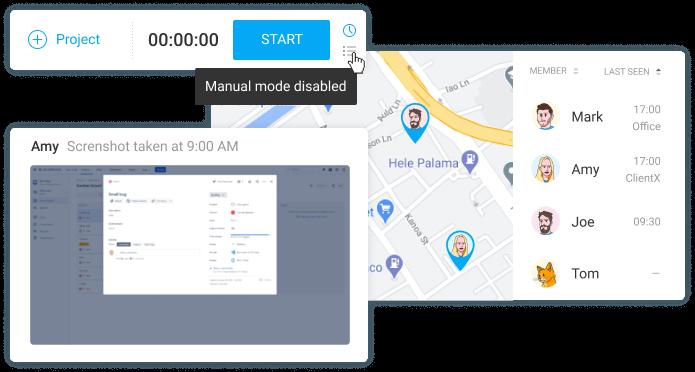 追蹤工時服務 Clockify 新增可計對團隊成員進行 GPS 定位的功能,清楚顯示員工行蹤。(來源: Clockify)